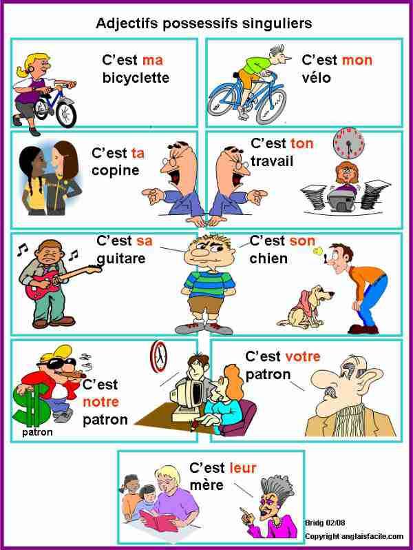 FLE - Adjectifs possessifs singuliers-French