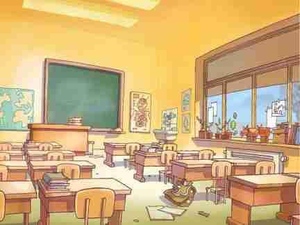 Objets de la salle de classe anglais for Salle a manger dessin anime